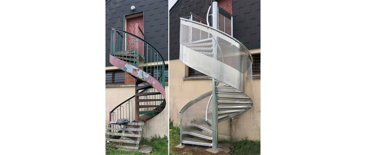 escalier en acier hélicoïdal